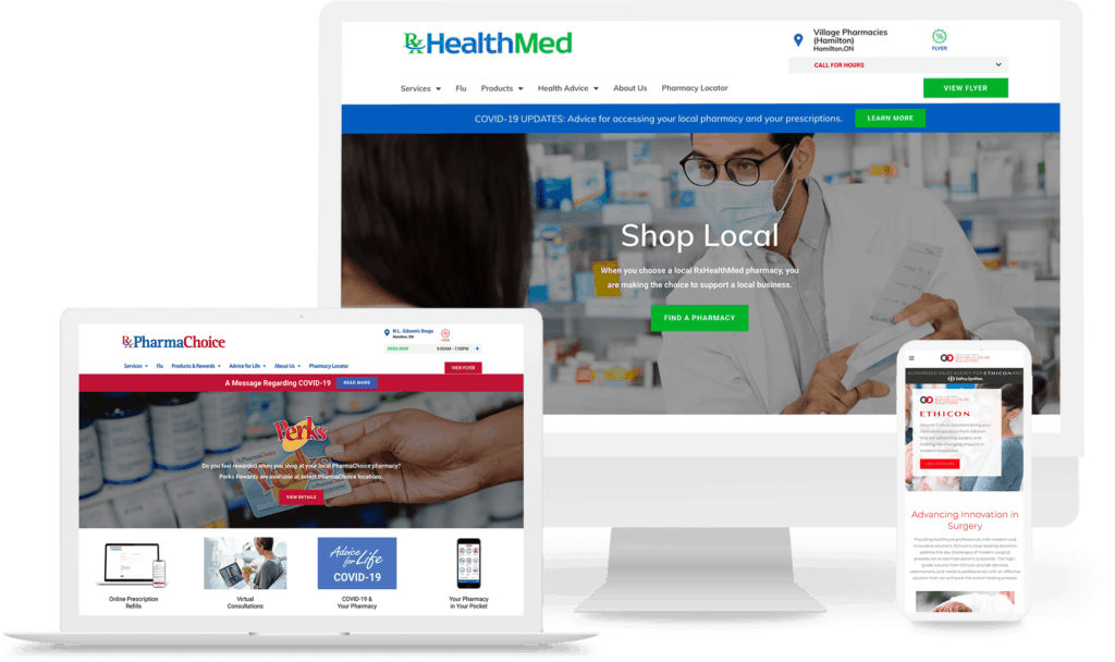 pharmacy and healthcare website mockups