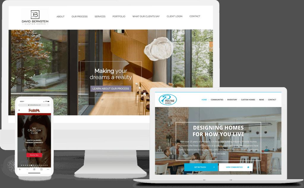 mockup of home builder and developer websites