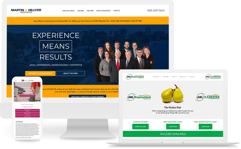 professional service website mockups