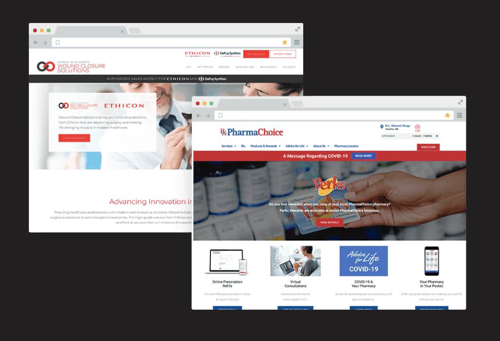 pharma website mockups
